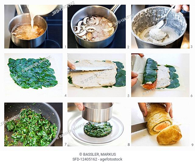 Salmon strudel on spinach being made