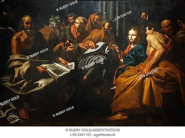 """Christ among the Doctors"", 1612/13, by Jusepe de Ribera (1591-1652)"