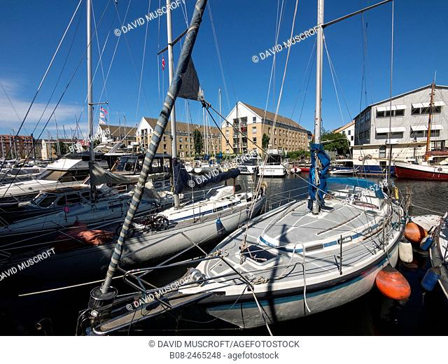 Modern apartments and boats at Christianshavn harbour area, Copenhagen, Denmark