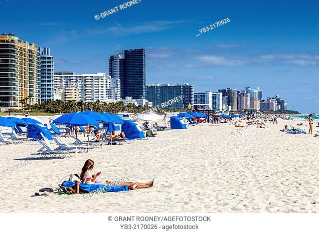 South Beach and City Skyline, Miami, Florida, USA