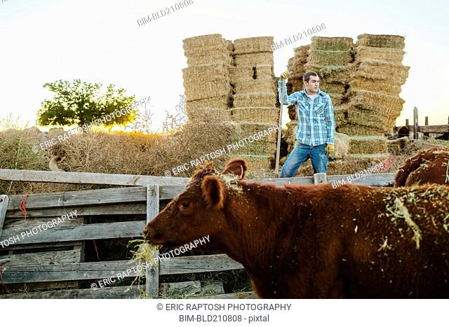 Caucasian man working on farm