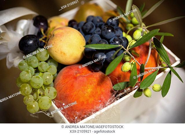 Arrangements of typical Mediterranean fruits
