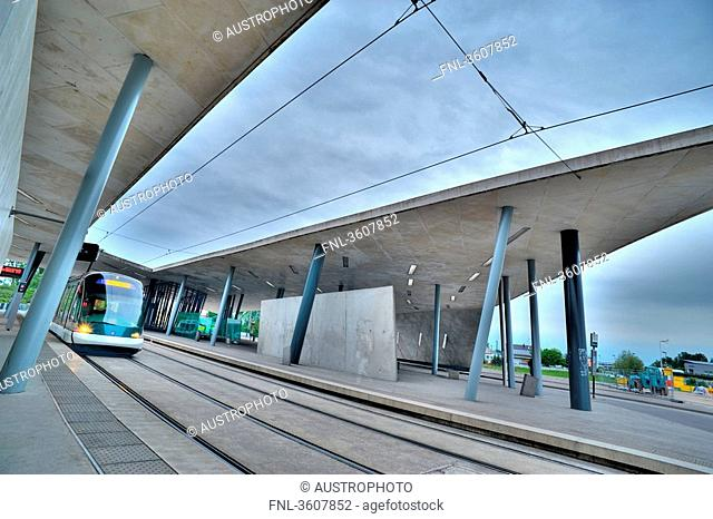 Tram line at the station Hoenheim Gare in Strasbourg, France