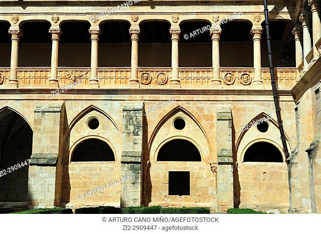 The Cistercian Monastery, XIIth-XVIth centuries. The Gothic and Plateresque cloister. Santa Maria de Huerta, Soria province, Spain