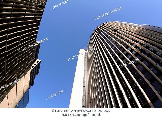 Tall buildings in the Paseo de la Castellana, Madrid, Spain, Europe