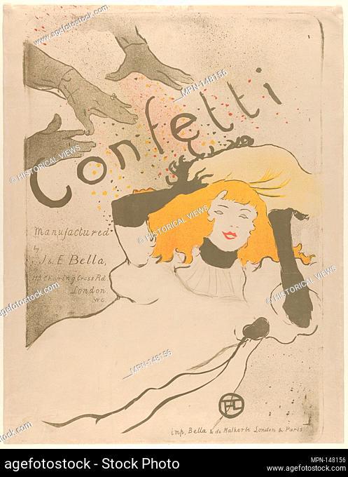 Confetti. Artist: Henri de Toulouse-Lautrec (French, Albi 1864-1901 Saint-André-du-Bois); Date: 1894; Medium: Lithograph printed in three colors on vellum;...