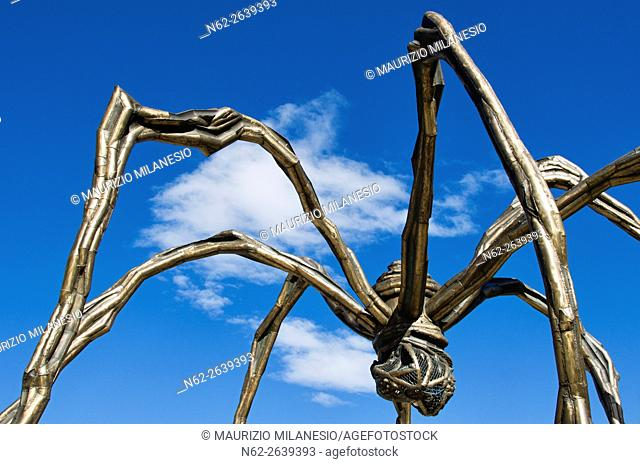 Maman sculpture, by Louise Bourgeois, Guggenheim Museum, Bilbao, In front of a clear blue sky and white clouds