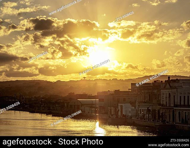 San Juan River at sunset, elevated view, Matanzas, Matanzas Province, Cuba