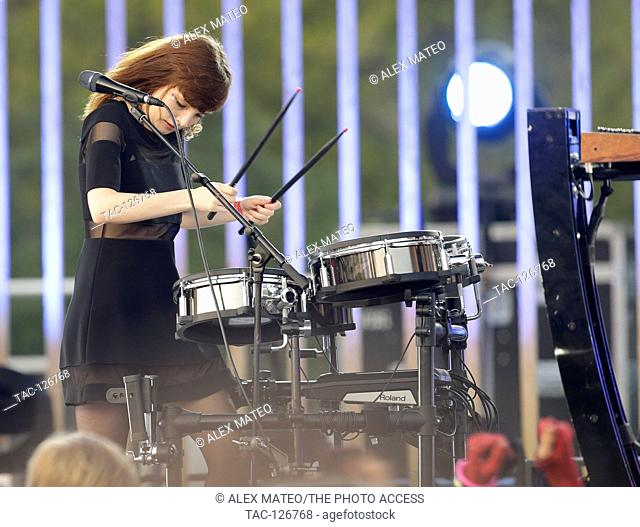 Lauren Mayberry of Chvrches performing live and playing drums at the 2016 MTV Woodie awards at SXSW on March 16, 2016 in Austin, Texas