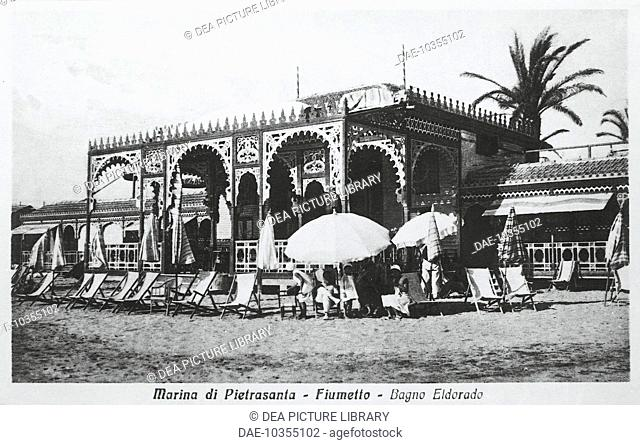 Italy, 20th century. The Pietrasanta Marina (Lucca), Eldorado baths in the town of Fiumetto at the beginning of the 1900s