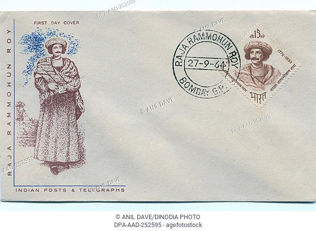 First day cover of raja ram mohan roy, india, asia