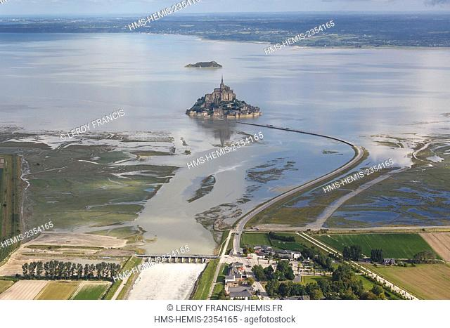 France, Manche, Le Mont Saint Michel, listed as World Heritage by UNESCO, Tobelaine, Mont Saint Michel and the dam on Couesnon river (aerial view)