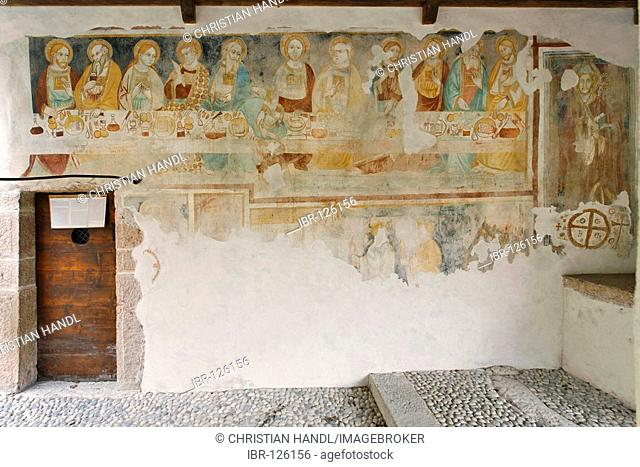 Frescos dated to the 13.century in the small church of S.Apollinare, town of Arco, near the Garda lake, Italy