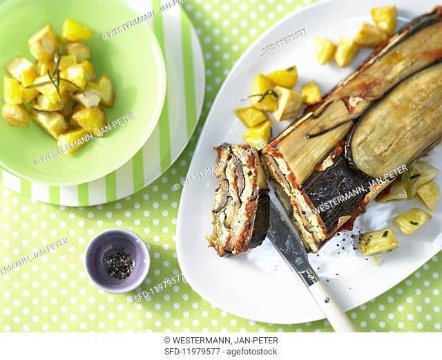 Aubergine pie with roast potatoes