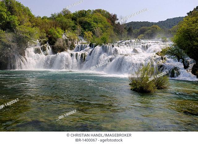 Waterfalls in Krka Falls National Park, Croatia, Europe