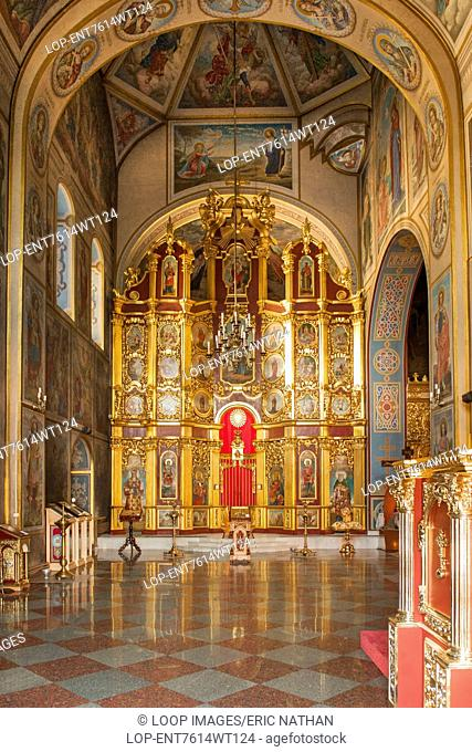Interior of the cathedral in St Michael's Golden Domed Monastery in Kiev which is the capital of Ukraine