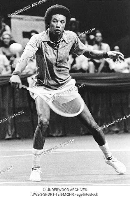 Dallas, Texas: 1975 United States tennis champion Arthur Ashe during World Championship Tennis play