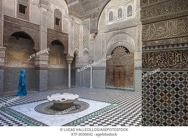 Medersa or Madrasa el-Attarine, medina, Fez el Bali, Fez, Morocco
