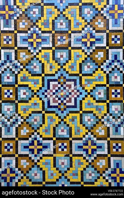 Iran, Tehran, Unesco World Heritage Site, Golestan palace, Elaborately decorated mosaic