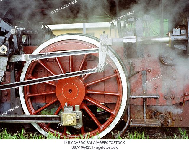 Italy, Lombardy, Vintage Steam Train