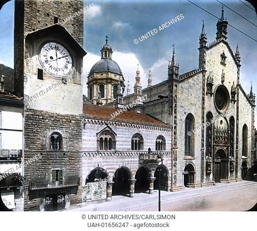 Como city on the Lake Como in Northern Italy. Part of the Swiss-Italian metropol region of Ticino. View to the Cathedral of Como and the ancient town hall...