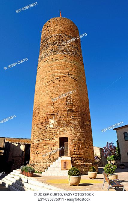 Medieval tower of village of Cruilles, Baix Emporda, Giroan province,Catalonia, Spain