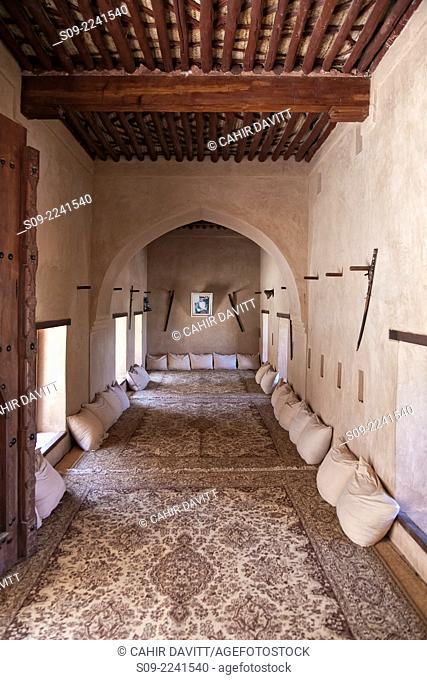 Living room in Nakhl Fort, Nakhl, Al Batinah South Governorate, Oman