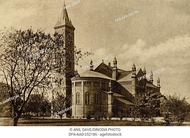 Vintage photo of memorial church cawnpore, kanpur, uttar pradesh, india, asia