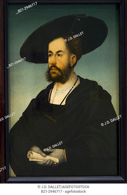 France, Hauts de France. Pas de Calais. Louvre-Lens Museum: Painting by Hans Maler (1480-1529) of Anton Fugger (June 10, 1493 – September 14