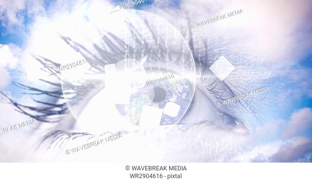 Digital composite image of eye interface with clouds