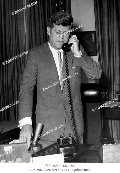 Aug. 26, 1963 - Washington D.C., U.S. - JOHN F. KENNEDY was the youngest person elected U.S. President and the first Roman Catholic to serve in that office