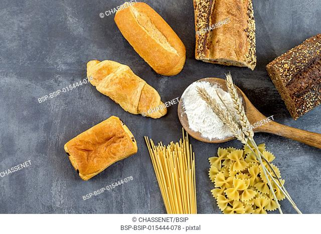 Gluten-based food on white and whole floor,on grey background