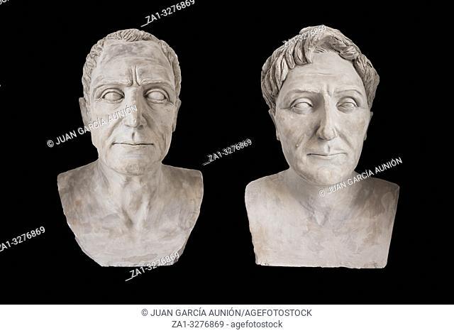 Montilla, Spain - March 2nd, 2019: Julius Caesar versus Pompey at Montilla Historical Museum, Cordoba, Spain. Leaders confronted at Battle of Munda