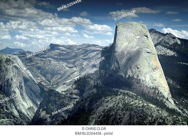 Boulder overlooking Yosemite, California, United States
