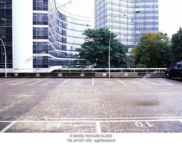 A car park and office buildings