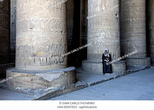 Dendera Egypt, temple dedicated to the goddess Hathor. View of hypostyle hall