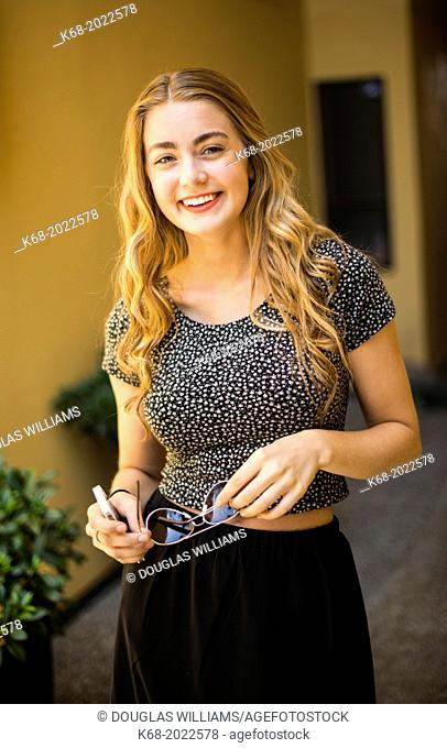 Portrait of happy teenager, 17 years