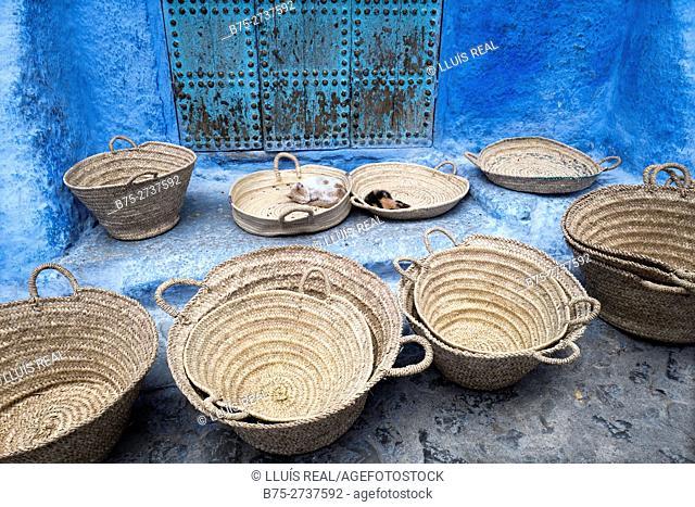 Domestica cats sleeping in esparto grass baskets. Chauen, Morocco