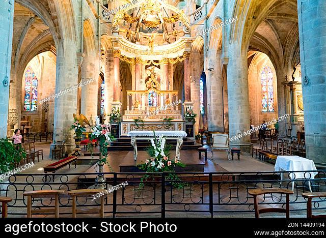 Dinan, Cotes-d-Armor / France - 19 August 2019: interior view of the historic Basilica de Saint-Sauveur church in the Breton town of Dinan