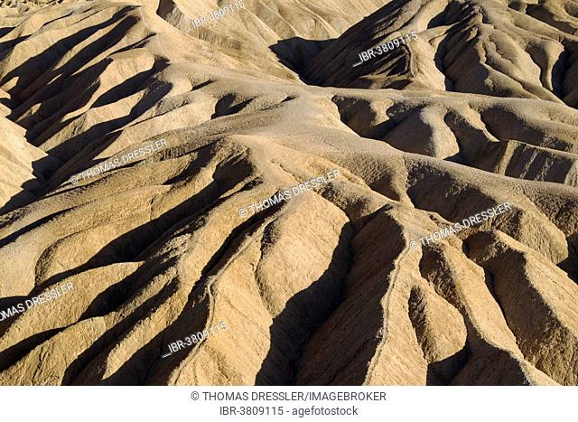 Eroded badlands in the Gower Gulch seen from Zabriskie Point, Death Valley National Park, California, USA