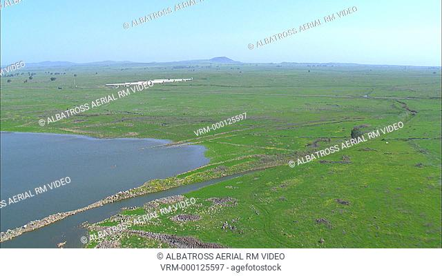 Aerial footage of northern Golan Heights; near border with Syria; Israel. Valley