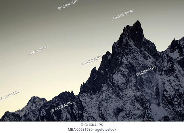 Aiguille Noire de Peuterey in the sunset (Ferret Valley, Aosta Valley, Italian Alps)