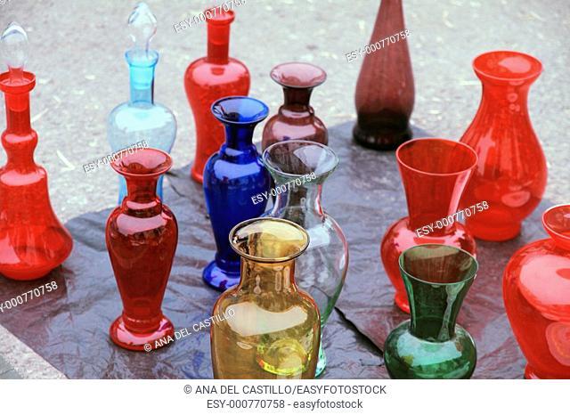 Glass vases antiquities street market in Modena Italy
