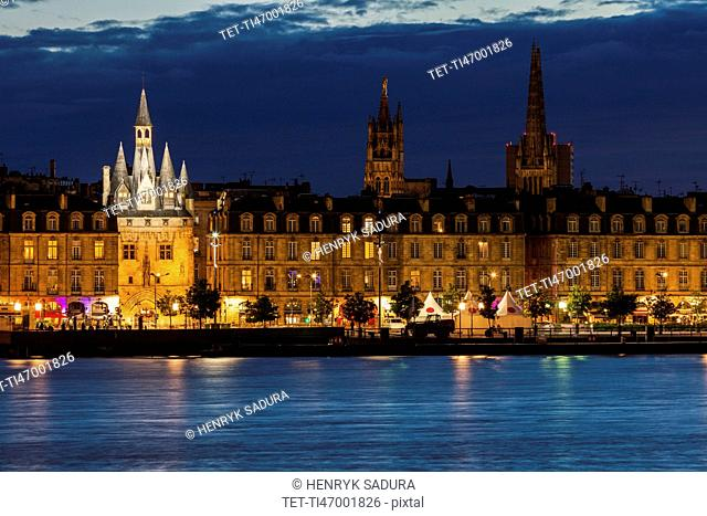 France, Nouvelle-Aquitaine, Bordeaux, Illuminated Cailhau Gate at night