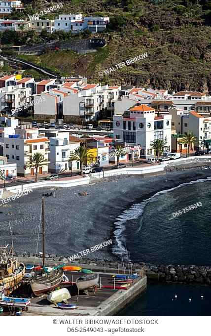 Spain, Canary Islands, La Gomera, Playa Santiago, elevated view of town
