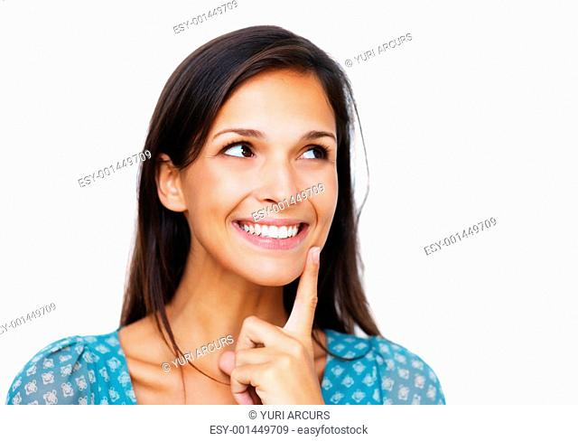 Smiling woman holding finger to chin