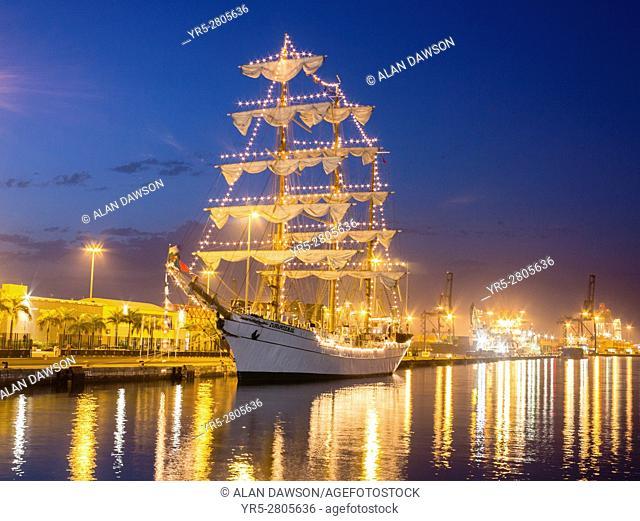 Las Palmas, Gran Canaria, Canary Islands, Spain, 10th August, 2016. Mexican navy tall ship, Cuauhtemoc, vists Las Palmas on the las leg of a 6 months Atlantic...