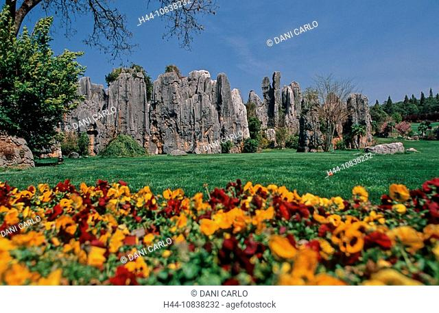 China, Asia, Xiao Shilin, Stone Forest, Kunming, Yunnan Province, landscape, karst formations, erosion, rock, rocky, A