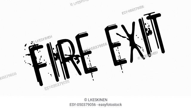 Fire Exit rubber stamp. Grunge design with dust scratches. Effects can be easily removed for a clean, crisp look. Color is easily changed