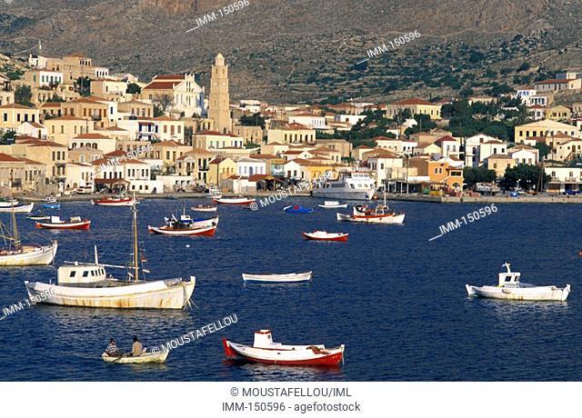 Halki Island of the Dodecanese Chora, harbor, fishing boats